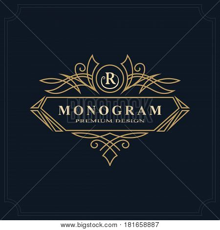 Line art Monogram luxury design graceful template. Calligraphic elegant beautiful logo. Letter emblem sign R for Royalty Restaurant Boutique Hotel Heraldic Jewelry. Vector illustration