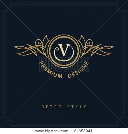 Line art Monogram luxury design graceful template. Calligraphic elegant beautiful logo. Letter emblem sign V for Royalty Restaurant Boutique Hotel Heraldic Jewelry. Vector illustration