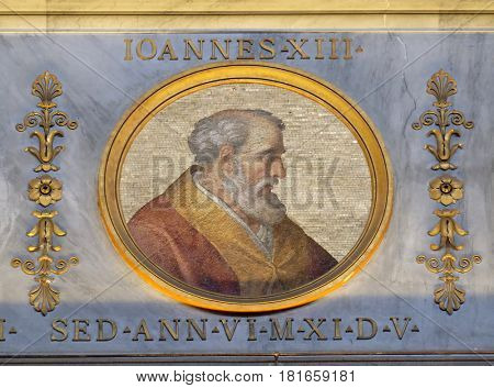 ROME - SEPTEMBER 05: The icon on the dome with the image of Pope John XIII was Pope from 1 October 965 to his death in 972 in the basilica of Saint Paul Outside the Walls, Rome on September 05, 2016.