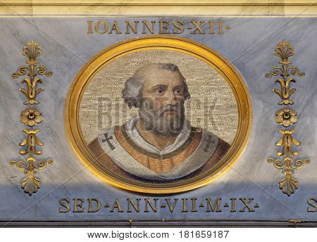 ROME - SEPTEMBER 05: The icon on the dome with the image of Pope John XII was Pope and from 16 December 955 to his death in 964, basilica of Saint Paul Outside the Walls, Rome on September 05, 2016.