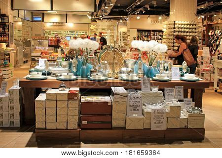HERZLIYA, ISRAEL - AUGUST 25, 2015: Shoppers in modern Home Decorations Store in Herzliya, Israel.