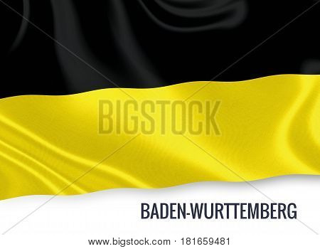 German state Baden-Württemberg flag waving on an isolated white background. State name is included below the flag. 3D rendering.
