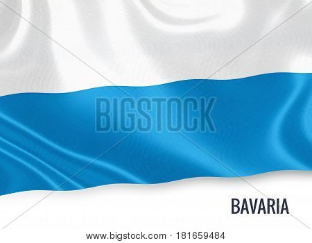 German state Bavaria flag waving on an isolated white background. State name is included below the flag. 3D rendering.