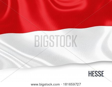 German state Hesse flag waving on an isolated white background. State name is included below the flag. 3D rendering.