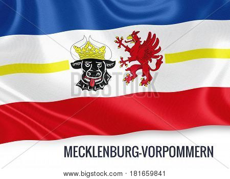 German state Mecklenburg-Vorpommern flag waving on an isolated white background. State name is included below the flag. 3D rendering.