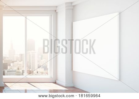 Unfurnished interior with blank poster on wall and city view. Mock up 3D Rendering