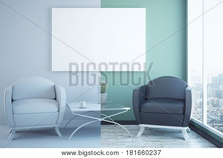 Half white half green interior with two armchairs coffee table city view and blank poster. Mock up 3D Rendering