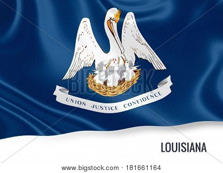 Flag of U.S. state Louisiana waving on an isolated white background. 3D rendering.