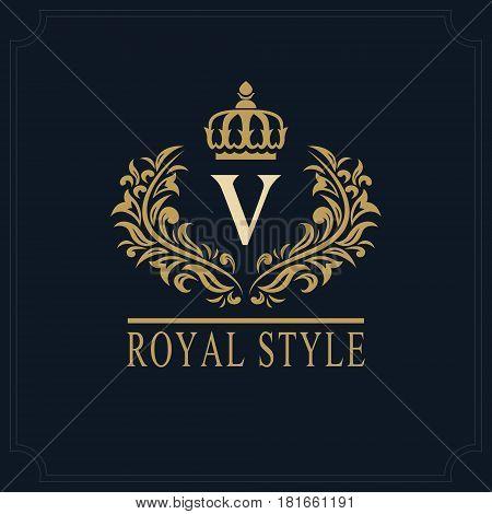 Floral Monogram luxury design graceful template. Calligraphic elegant beautiful logo. Letter emblem sign V for Royalty Restaurant Boutique Hotel Heraldic Jewelry. Vector illustration