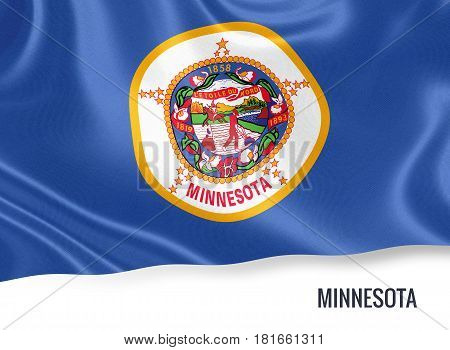 Flag of U.S. state Minnesota waving on an isolated white background. 3D rendering.