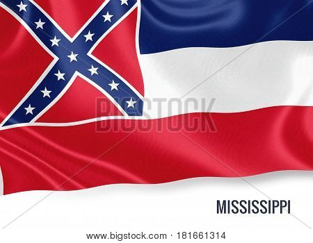 Flag of U.S. state Mississippi waving on an isolated white background. 3D rendering.