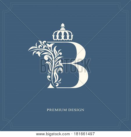 Elegant letter B with a crown. Graceful royal style. Calligraphic beautiful logo. Vintage drawn emblem for book design brand name business card Restaurant Boutique Hotel. Vector illustration