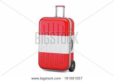 Austria travel concept suitcase with Austrian flag. 3D rendering