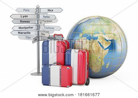 France travel concept. Suitcases with French flag signpost and Earth globe. 3D rendering