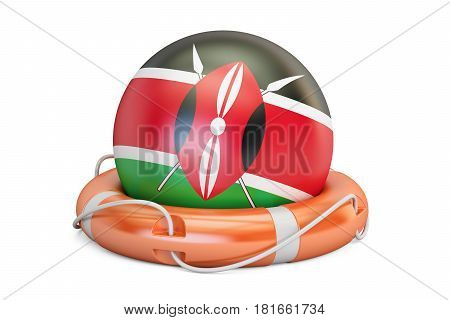 Lifebelt with Kenya flag safe help and protect concept. 3D rendering
