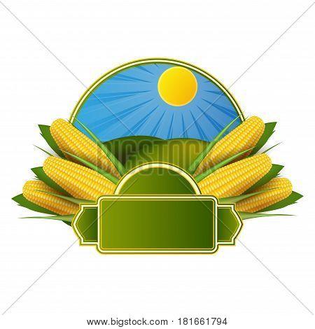 Corn cob label on a white background