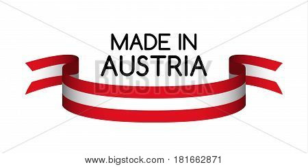 Colored ribbon with the Austrian colors Made in Austria symbol Austrian flag isolated on white background vector illustration