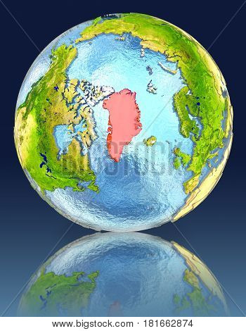 Greenland On Globe With Reflection