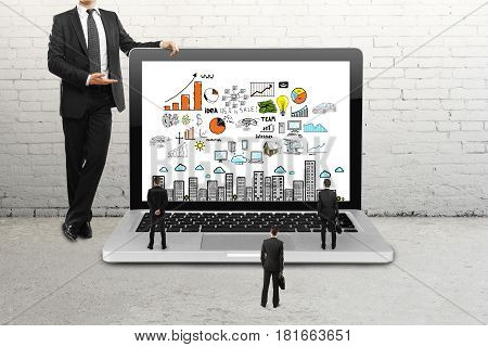 Businessman showing laptop screen with business sketch to his tiny subordinates in brick room. Supervision concept. 3D Rendering