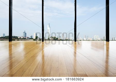 cityscape of nanjing from empty wooden floor