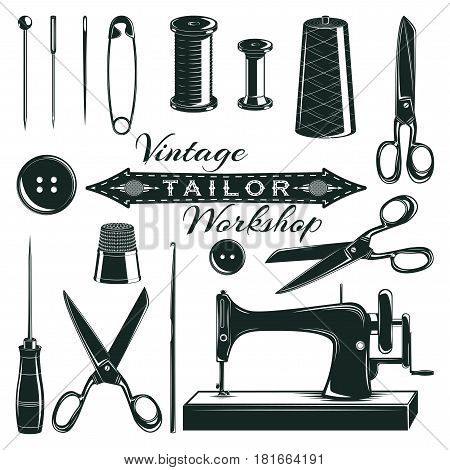 Vintage tailor elements set with buttons sewing machine pin needles thread spool scissors thimble awl isolated vector illustration