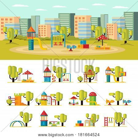 Summer playground concept with slides swing sandbox carousels green trees and equipment isolated vector illustration