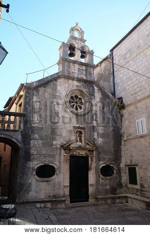 KORCULA, CROATIA - NOVEMBER 09: St Michaels church, in the old town of Korcula, Dalmatia, Croatia on November 09, 2016.
