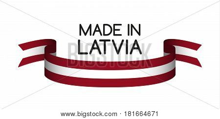 Colored ribbon with the Latvian colors Made in Latvia symbol Latvian flag isolated on white background vector illustration