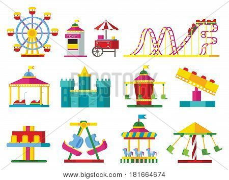 Colorful attractions collection with ferris wheel roller coaster scary castle ticket window and different carousels isolated vector illustration