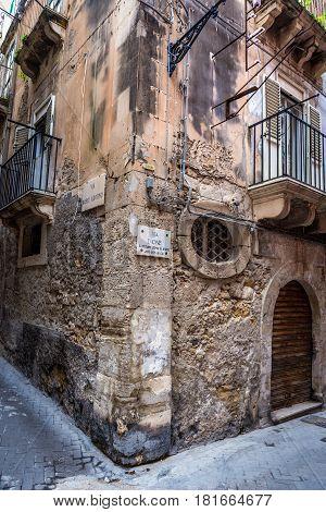 Dione Street on Ortygia isle Syracuse city Sicily Island in Italy
