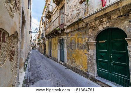 Street on the old part of Syracuse - Ortygia isle Sicily Italy