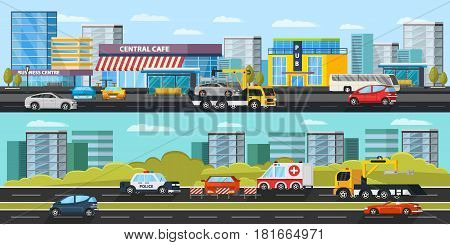 Car evacuation horizontal banners with tow truck transporting automobile car rescue and assistance on road vector illustration