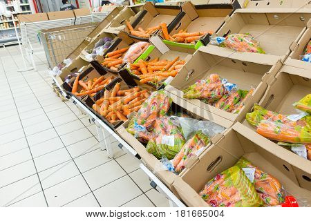 Moscow Russia - April 13, 2017: Shopping Center Auchan . Fresh Carrots.