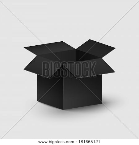 Black realistic box on a white background. Empty and open box. Place for your projects. Illustration for the web. Falling shadows on the surface. Dark object. 3D