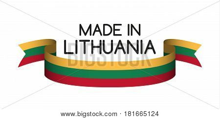 Colored ribbon with the Lithuanian tricolor Made in Lithuania symbol Lithuanian flag isolated on white background vector illustration