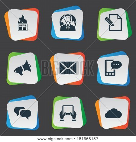 Vector Illustration Set Of Simple User Icons. Elements Gossip, Overcast, Post And Other Synonyms Overcast, Sky And News.