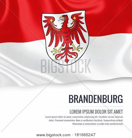 Flag of German state Brandenburg waving on an isolated white background. State name and the text area for your message.