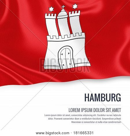 Flag of German state Hamburg waving on an isolated white background. State name and the text area for your message.
