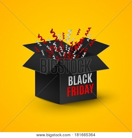 black Friday. A realistic black box on an orange background. Flashing tape tinsel candy ornaments. Explosion of a dark box. A place for your projects. Red and white text on the box. Web illustration. Cyber Sale Year