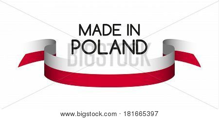Colored ribbon in the colors of Polish Made in Poland symbol Polish flag isolated on white background vector illustration