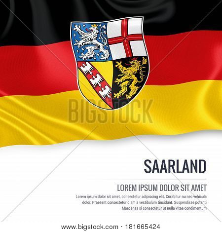 Flag of German state Saarland waving on an isolated white background. State name and the text area for your message.