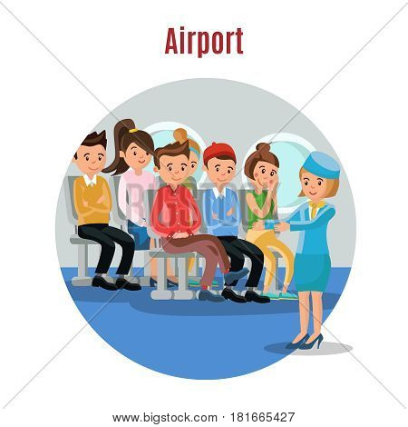 Colorful people on airplane template with stewardess instructing passengers about safety procedures vector illustration
