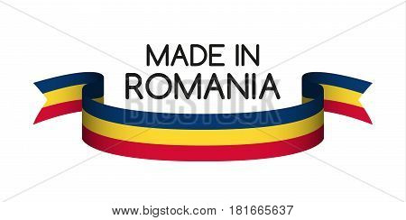 Colored ribbon with the Romanian tricolor Made in Romania symbol Romanian flag isolated on white background vector illustration