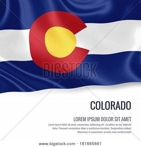 Flag of U.S. state Colorado waving on an isolated white background. State name and the text area for your message.