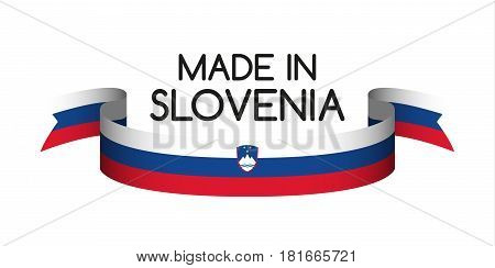 Colored ribbon with the Slovenian tricolor Made in Slovenia symbol Slovenian flag isolated on white background vector illustration