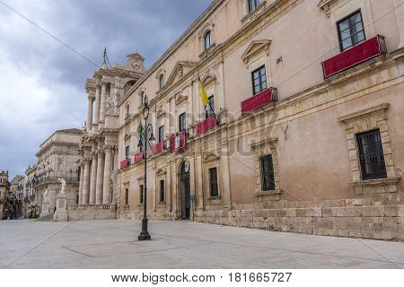 Cathedral Square on the old part of Syracuse - Ortygia isle Sicily Italy. View with Archbishop's Palace and Cathedral