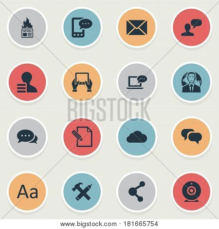 Vector Illustration Set Of Simple Blogging Icons. Elements Post, Man Considering, Overcast And Other Synonyms Speech, Broadcast And Cloud.