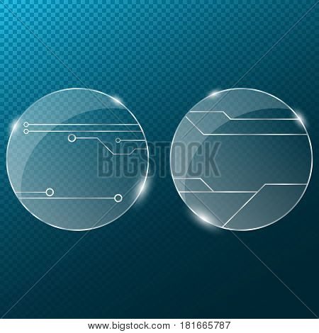 Circuit. Round transparent glass on a transparent blue background. New technologies in design. Cyber texture. Pattern on the glass. A modern plate with a silver pattern. 3d realistic.