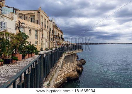 One of the promenades of Ortygia isle Syracuse city Sicily Island in Italy