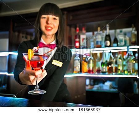 Colorful painting of bartender girl at night club counter offering coctail
